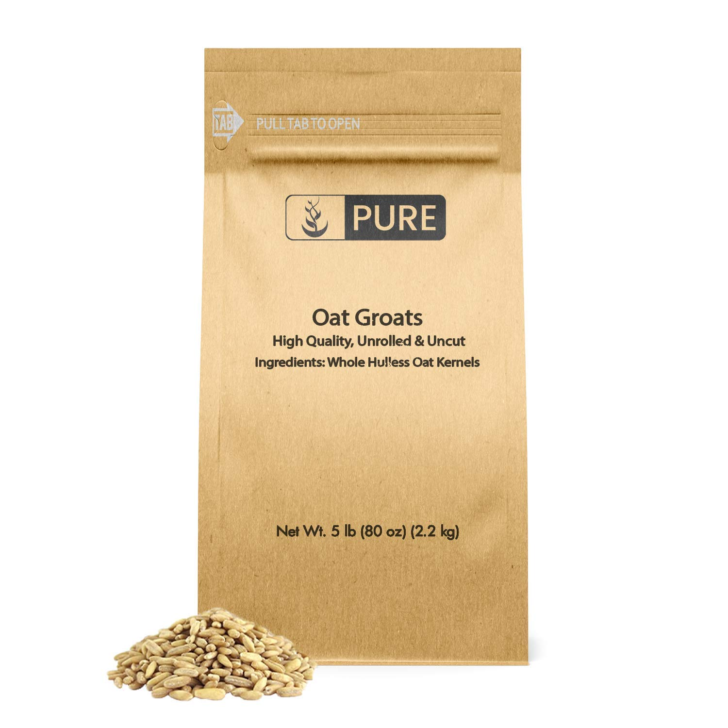 PURE Oat Groats (5 lbs) Whole, Uncut & Hulless, High-in-Protein Oat Kernels (¼ Cup Serving)