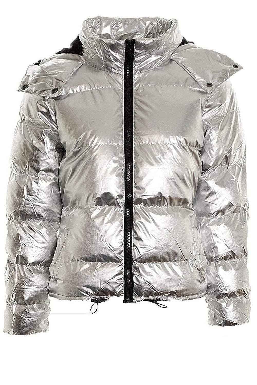 Kooosin Womens Lightweight Outwear Coats Lightweight Water-Resistant Hooded Down Metallic Bomber Nightclub Party Jacket