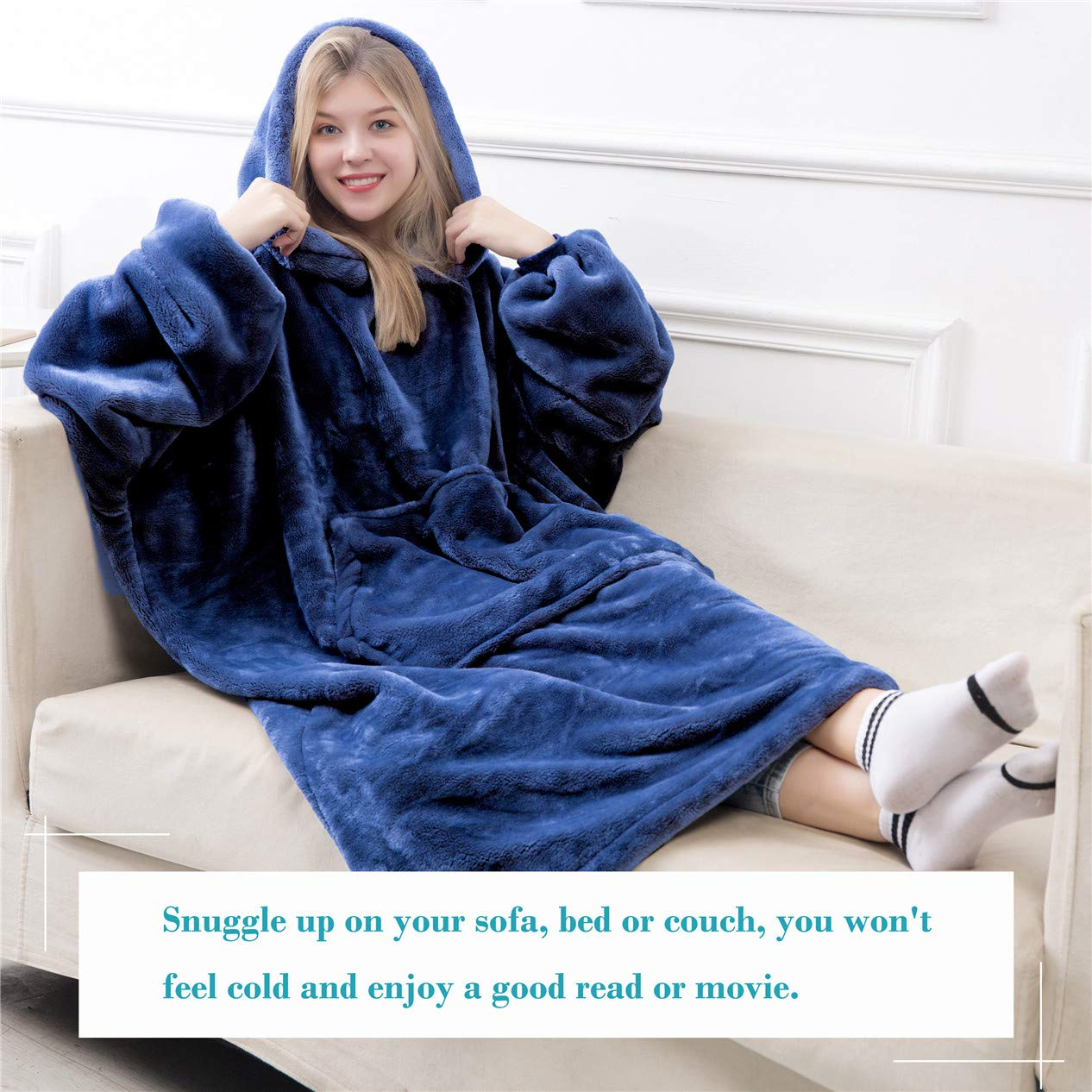 Waitu Wearable Blanket Snuggle Hoody Blanket for Adult and Child Super Warm and Cozy Blanket Hoodie for Women and Men Navy Fleece Blanket with Giant Pocket No Sleeves