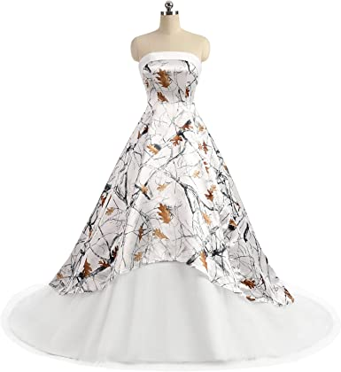 Ilovewedding Realtree Camo Wedding Dress For Bride Strapless A Line Formal Gowns At Amazon Women S Clothing Store