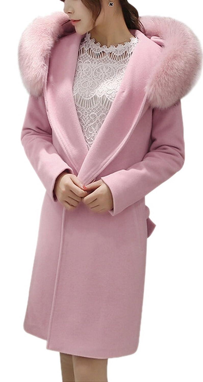 Women's Parka Fur Hooded Winter Outerwear Jacket Coat with Belt Pink/Red