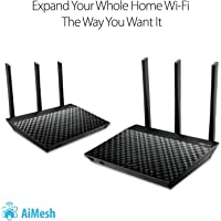 ASUS AC1900 Dual Band Whole Home Mesh Wi-Fi System for Large and Multi-Story Homes, Wired Inter-Router Connections, Aiprotection Pro Network Security Powered By Trend Micro and Adaptive QoS