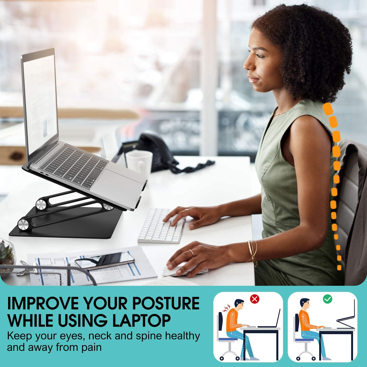Laptop Stand Black Aluminum Portable Computer Riser with Heat-Vent Foldable Desktop Laptop Holder Compatible with MacBook Air Pro All 10 to 17 Inch Laptops Ergonomic Adjustable Notebook Stand