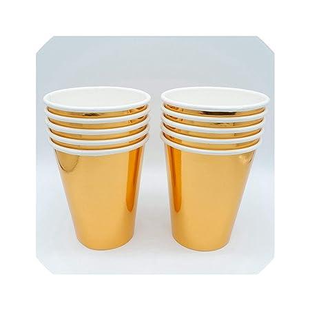 Juego de 10 platos de papel desechables de color dorado para ...
