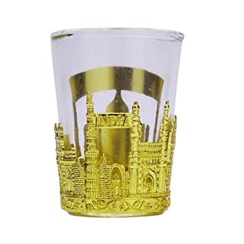 Amazon Com Vodka Shot Glass Indian Monuments Metal Cover Gin Gift
