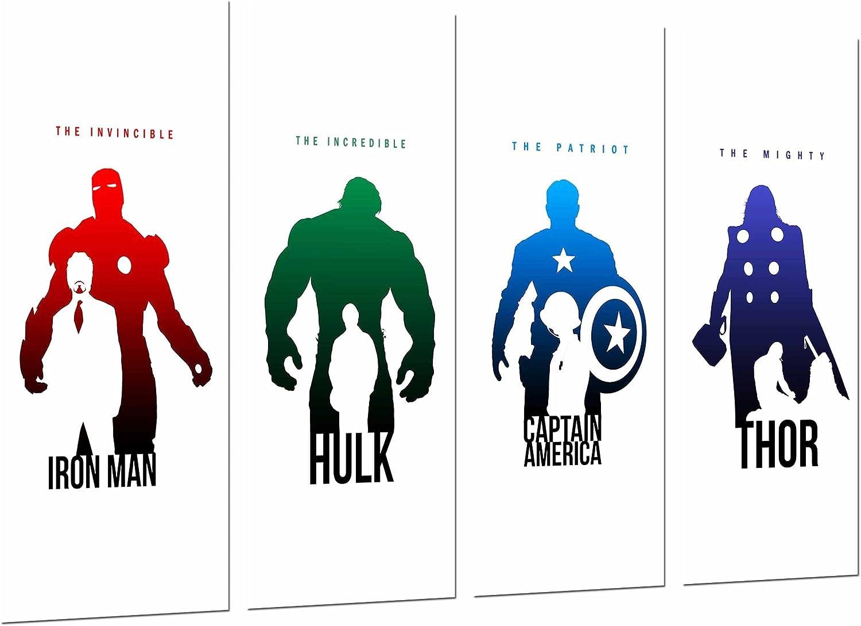 Cuadros Cámara Poster Fotográfico Iron Man, Hulk, Capitan America y Thor, Los Vengadores, The Avengers, Multicolor, 131 x 62 cm XXL