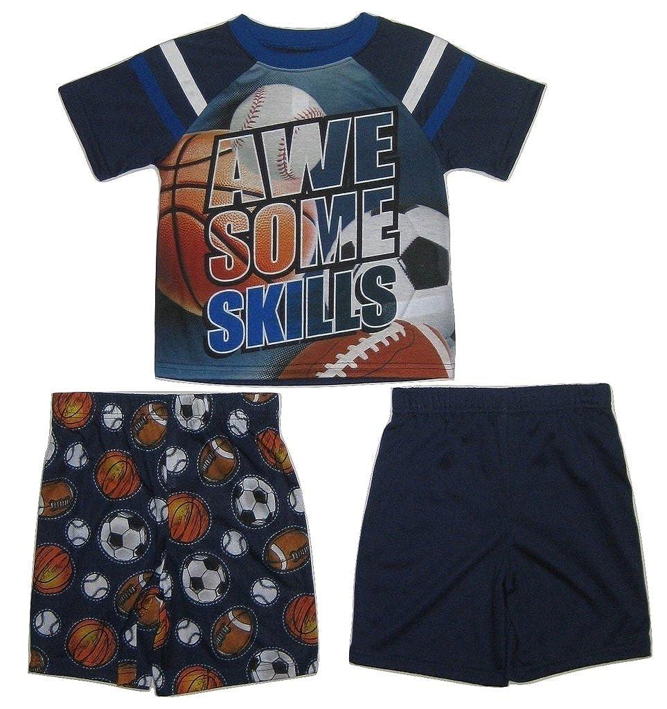 Size XS 4//5 Navy Jelli Fish Kids Boys 3-Piece Awesome Skills Sport Pajama Set