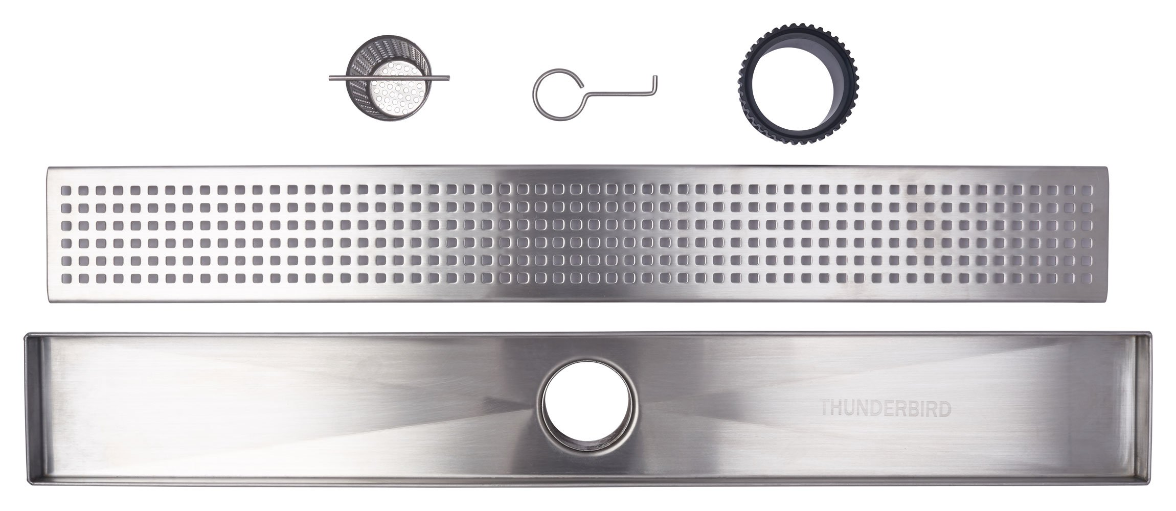 Linear Shower Drain Grate, Square Hole Pattern, 36-inch, 304-Grade Stainless Steel (18 Gauge), ICC-ES Certified (UPC)