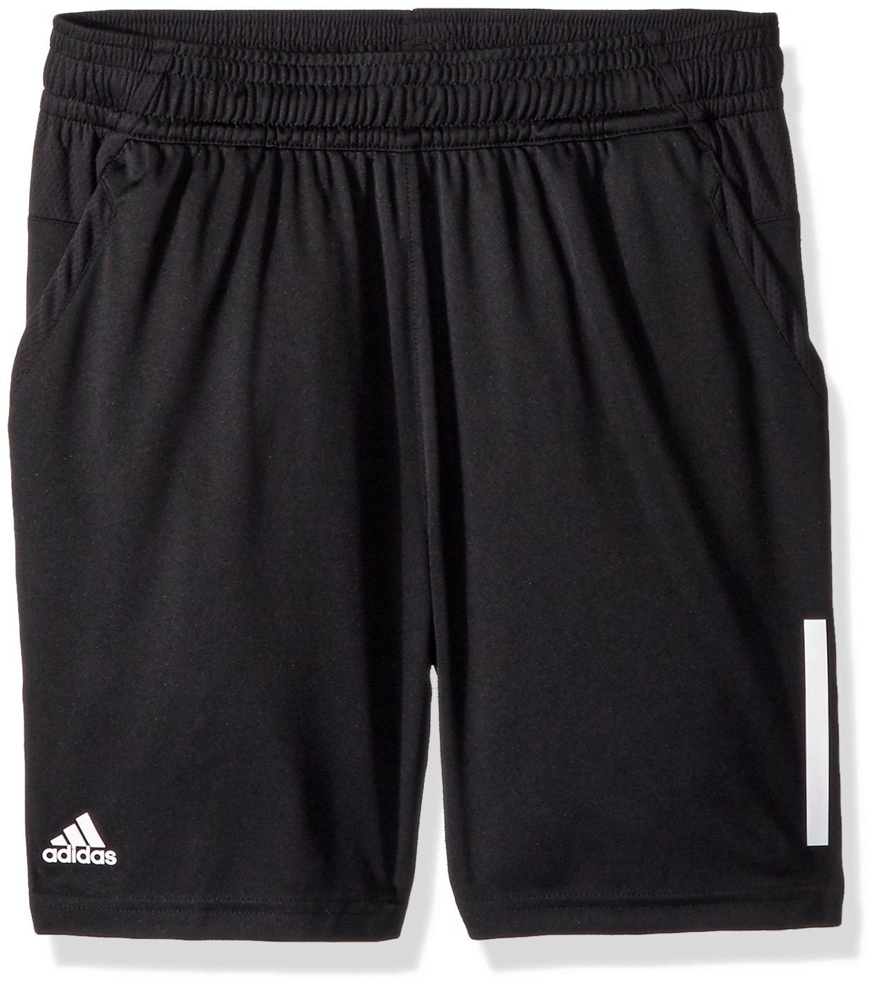 adidas Youth Boys Tennis 3-Stripes Club Shorts, Black, X-Large