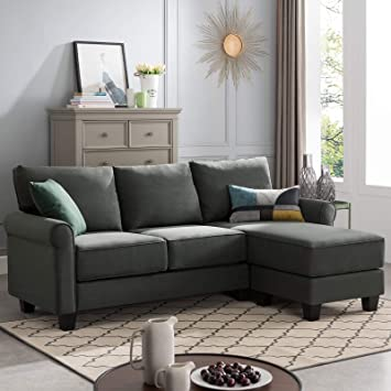 Amazon.com: Nolany Reversible Sectional Sofa Couch For Small Apartment L Shape Sofa Couch 3-seat Sectional Corner Couch (Green Grey): Furniture & Decor