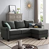 Nolany Reversible Sectional Sofa Couch for Small Apartment L Shape Sofa Couch 3-seat Sectional Corner Couch (Green Grey)