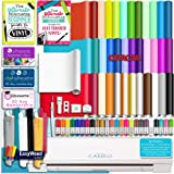 Silhouette WHITE CAMEO 3 Bluetooth Delux Starter Bundle with 36 12x12 Oracal Sheets, Siser Easyweed T-Shirt Vinyl, Membership, Transfer Paper, Guide, Class, 24 Sketch Pens, and More