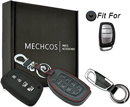 MECHCOS Compatible with fit for 2018 2017 2016 Hyundai Tucson Elantra Sonata Smart 4Buttons Leather Keyless Entry Remote Control Smart Key Fob Cover Case Protector Shell NOT FIT Flip//Pop Out Key