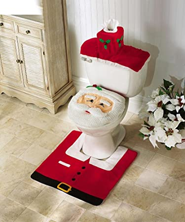 Amazon OliaDesign Christmas Decorations Happy Santa Toilet Seat Cover And Rug Set Home Kitchen