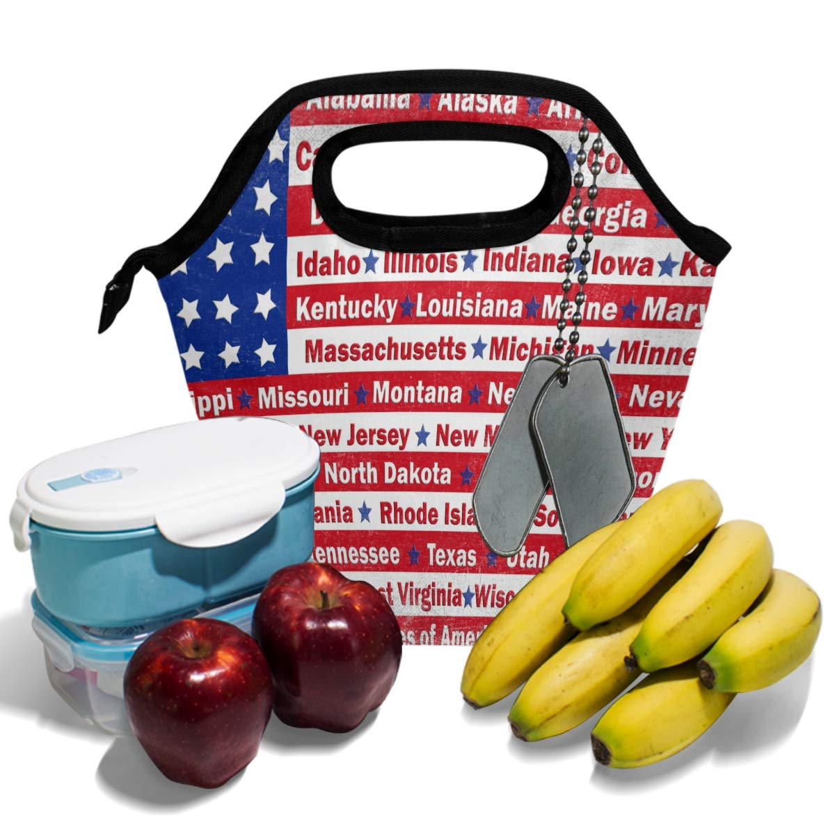 747aa2734a2c Amazon.com - American Memorial Day Patriotic Red Star Lunch Bag ...
