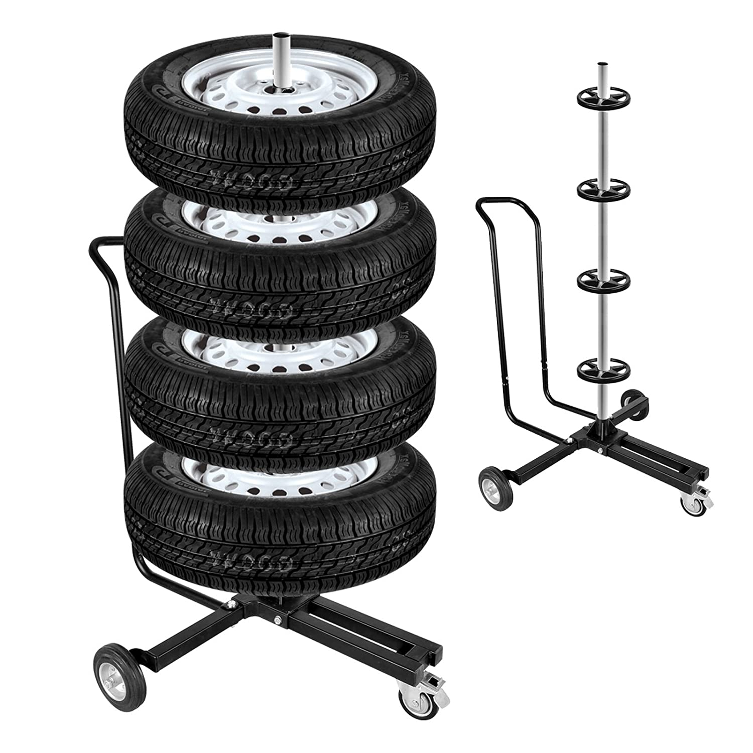 Wheels Black 225ER 4  Tyres Rims Tree Aluminium Max 100kg with Parking Brake Cable Pat
