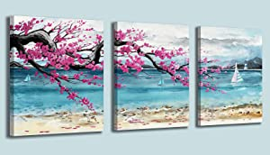 Bathroom Decor Wall Art Beach Theme Canvas Art Wall Decor 3 Pieces Framed Wall Art Blue Nautical Lighthouse Pink Flowers Prints Art Modern Home Decor Wall Decorations for Bedroom Kitchen Size 12x16x3
