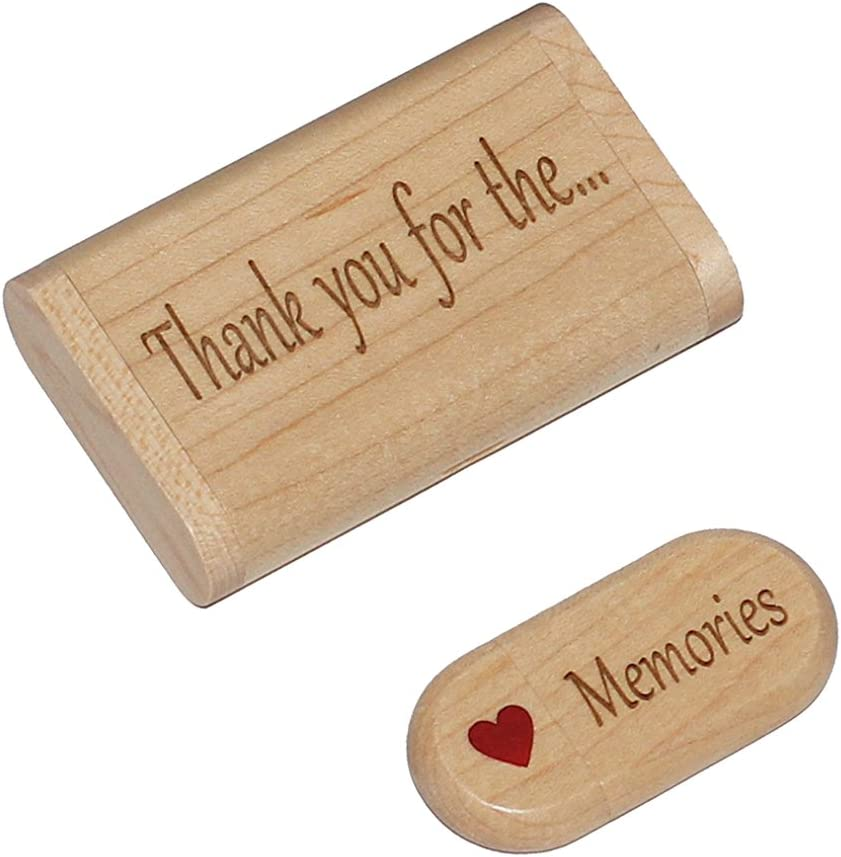 Wood 32gb Flash Drive Gift with Display Box Thank you for the...Memories 2.0 Gift USB with Bow-Tied Gift Box