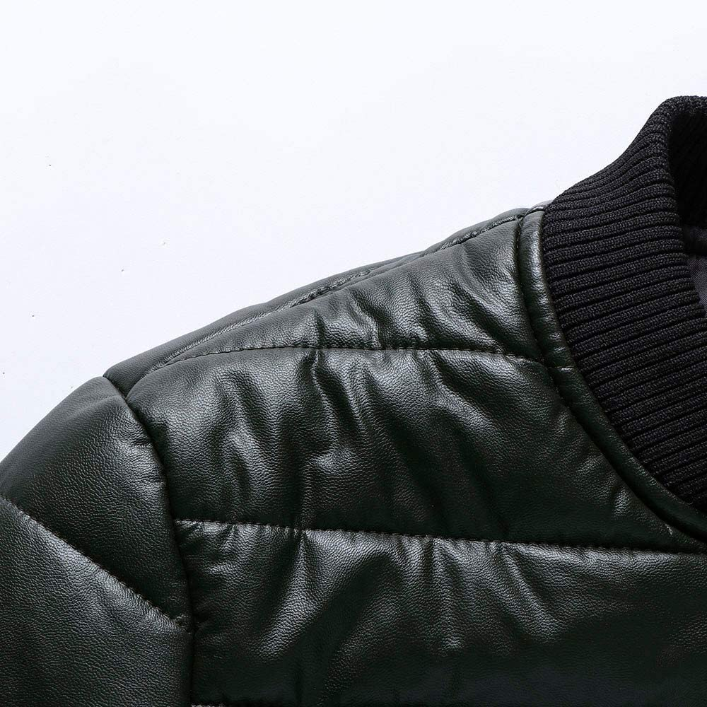 Emerayo Men Coats Winter,Mens Fashion Stand Solid Thick Leather Jacket Coat