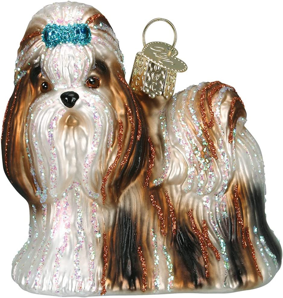 Old World Christmas Dog Collection Glass Blown Ornaments for Christmas Tree Shih Tzu, Brown