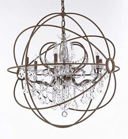 Wrought iron empress crystal tm red rusted painted foucaults orb wrought iron empress crystal tm red rusted painted foucaults orb chandelier lighting w 32quot aloadofball Image collections