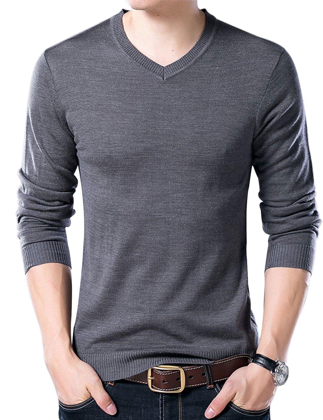 Yeokou Men's Casual Slim V Neck Winter Wool Cashmere Pullover Jumper Sweater,Dark Grey,Small
