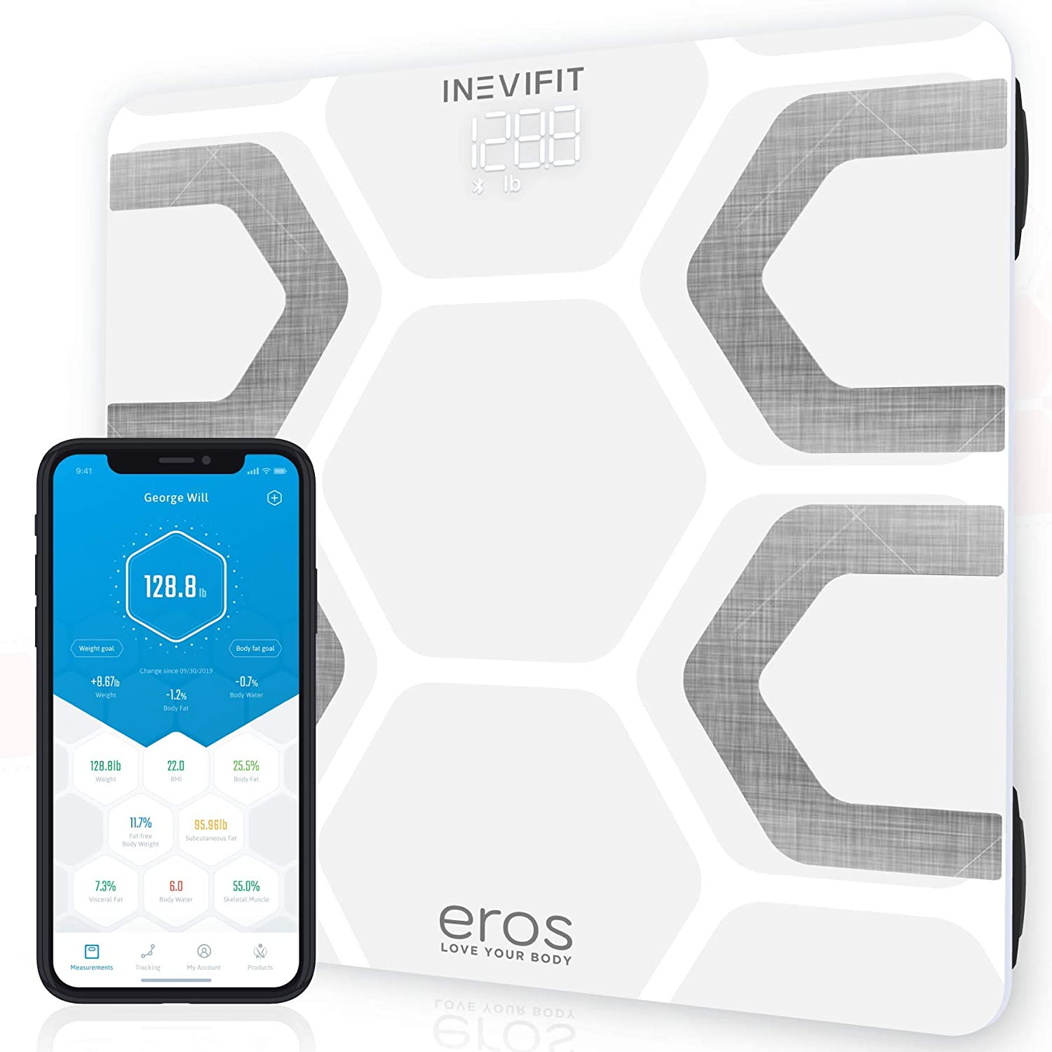 INEVIFIT EROS Bluetooth Body Fat Scale Smart BMI Highly Accurate Digital Bathroom Body Composition Analyzer with Wireless Smartphone APP 400 lbs 11.8 x 11.8 inch White