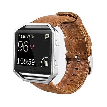 MroTech Correa Fitbit Blaze [Sin Marco], Correa de Reloj de Cuero Genuino Vintage Pulseras de Repuesto Compatible Fitbit Blaze Smartwatch (Marrón): ...