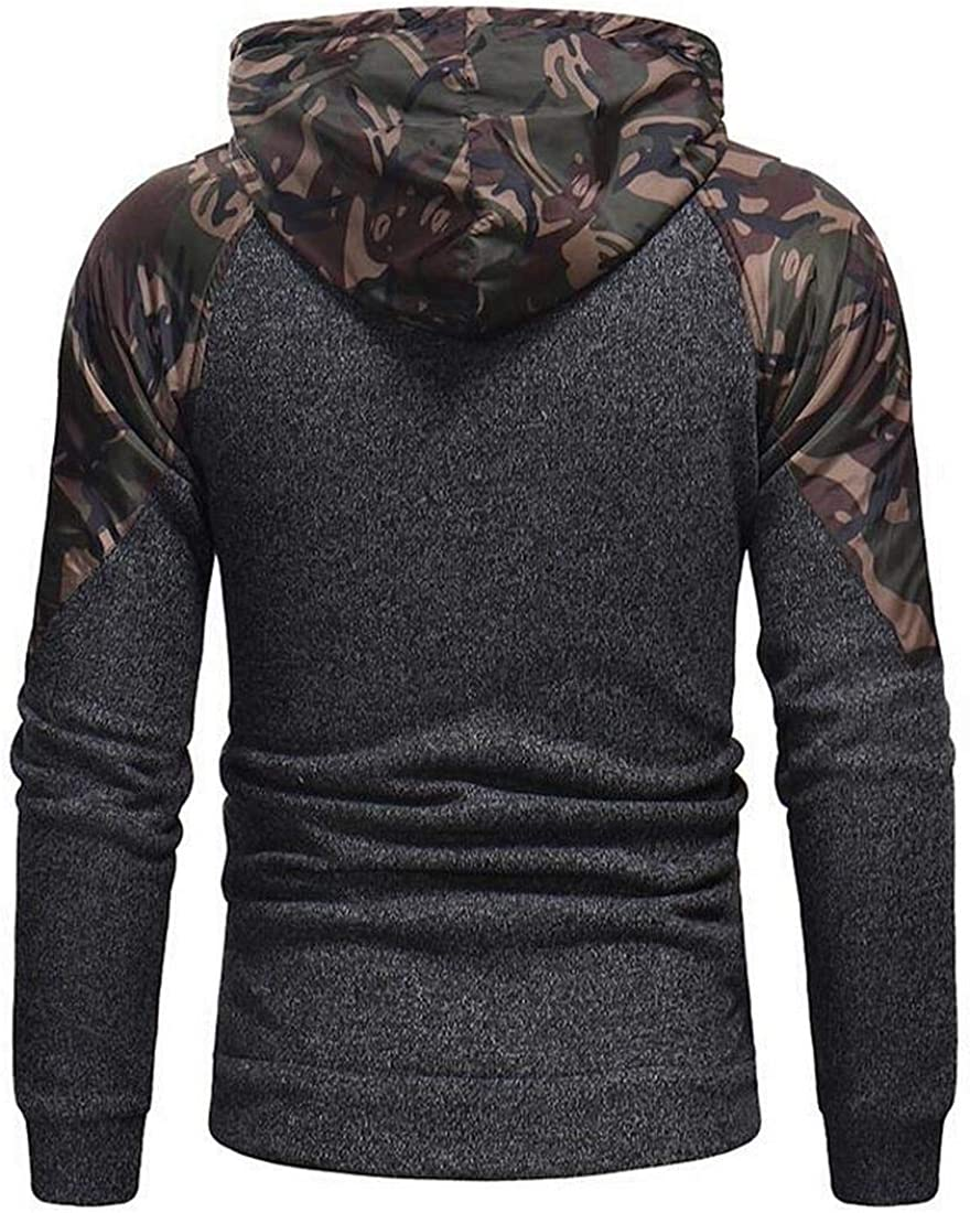 Fensajomon Men Camouflage Slim Fit Long Sleeve Zip Up Stitching Casual Sport Hooded Sweatshirts Jacket Coat
