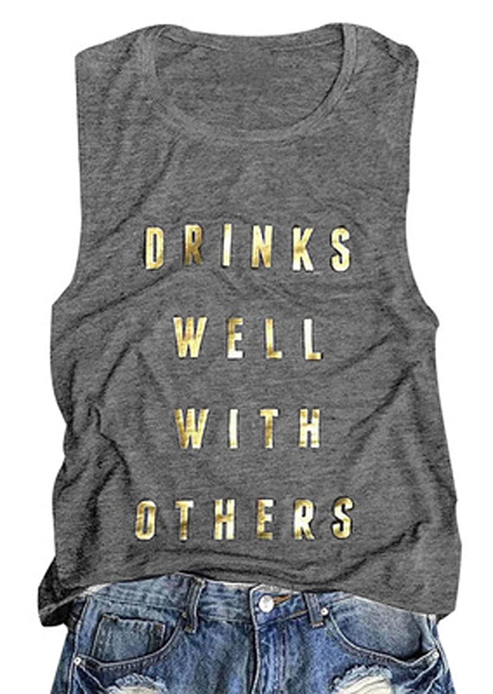 YILLEU Women Casual Summer Flowy Star and Stripes Pocket Racerback Sleeveless T Shirt Tank Tops