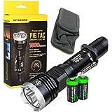 EdisonBright Nitecore P16 TAC 1000 Lumens high intensity CREE XM-L2 U3 LED long throw tactical flashlight with 2 X CR123A Lithium Batteries Bundle