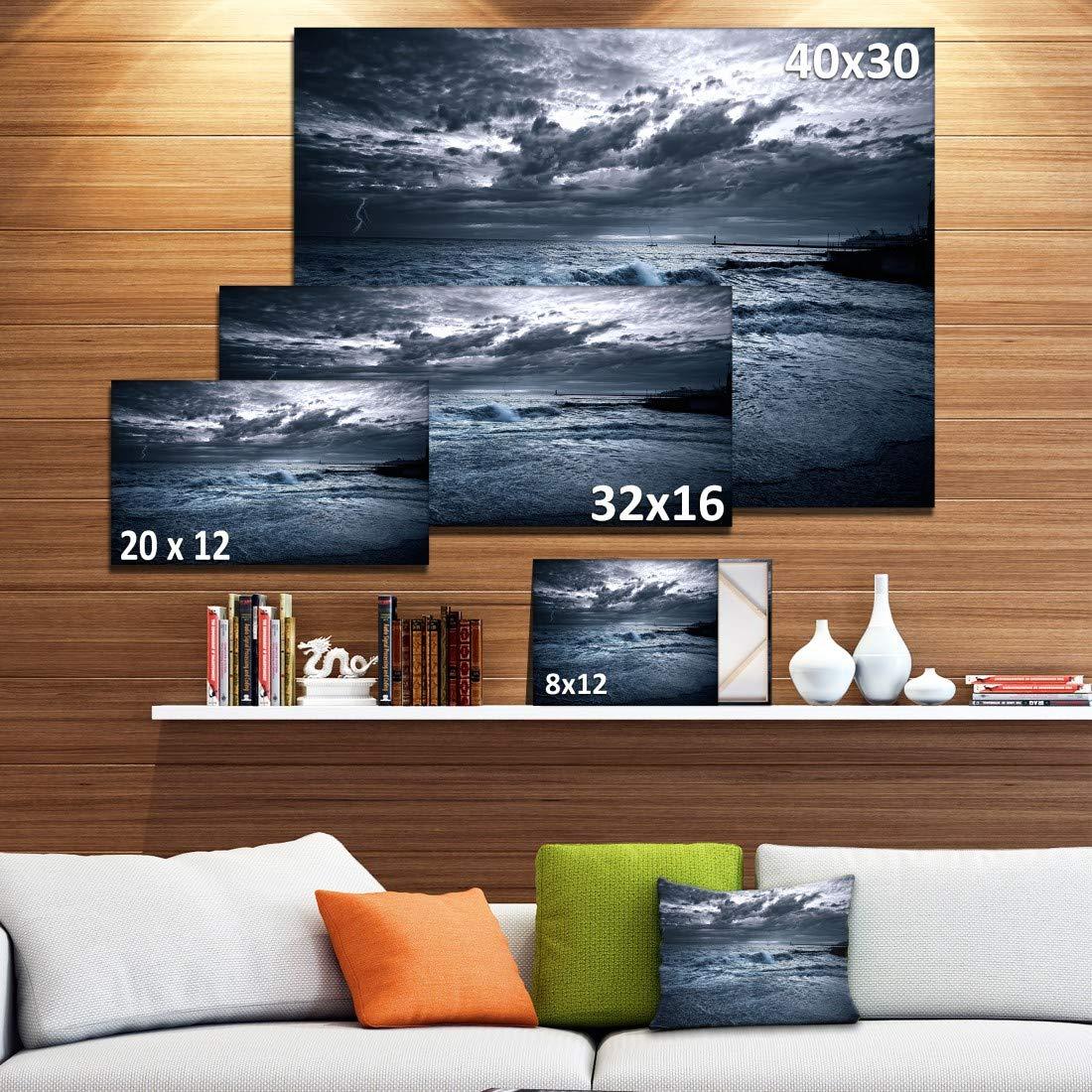 Sochi Sea Storm in Blue Modern Landscape Wall Art Canvas Design Art PT10370-40-30