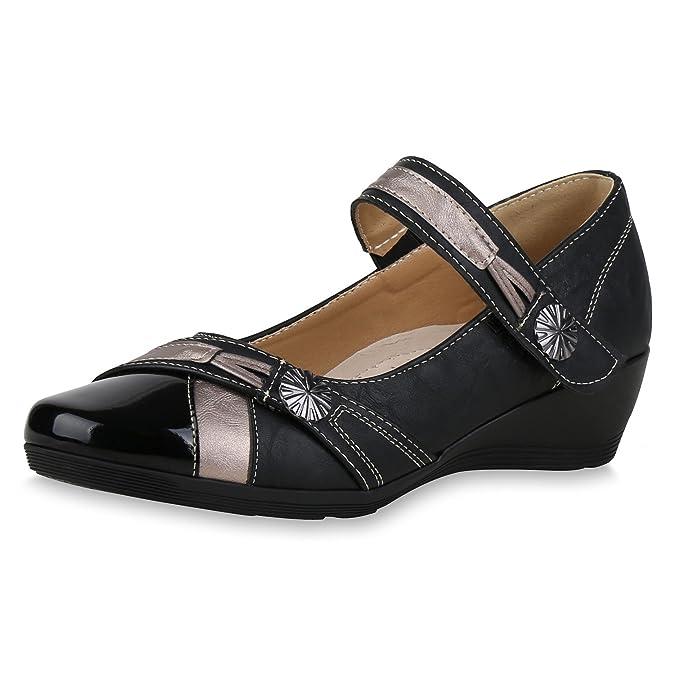 SCARPE VITA Damen Pumps Mary Janes Lack Metallic Keilabsatz Ledersohle Schuhe 159379 Schwarz 38 Flandell N3JCTp