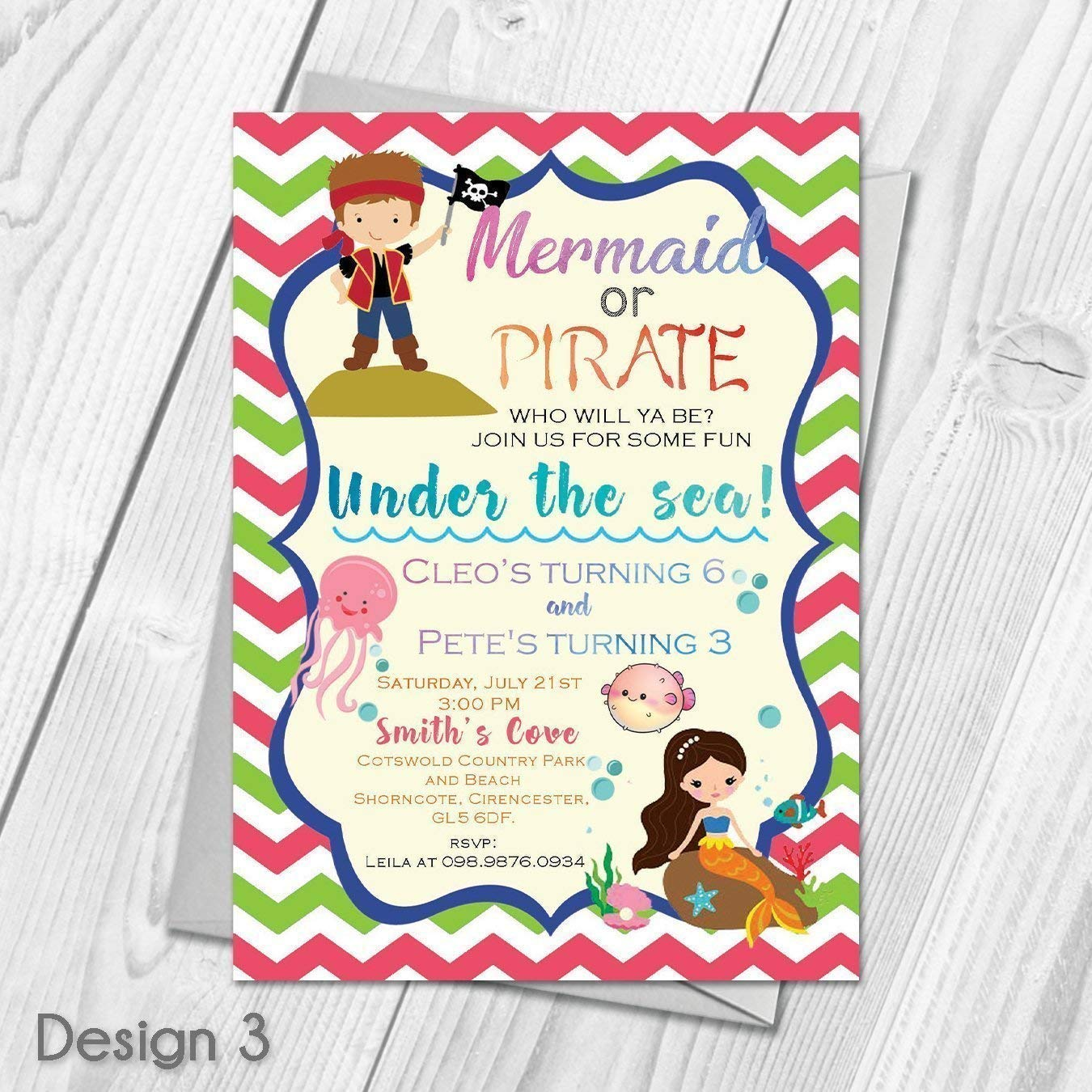 Personalised Mermaid And Pirate Birthday Party Invitations Thank