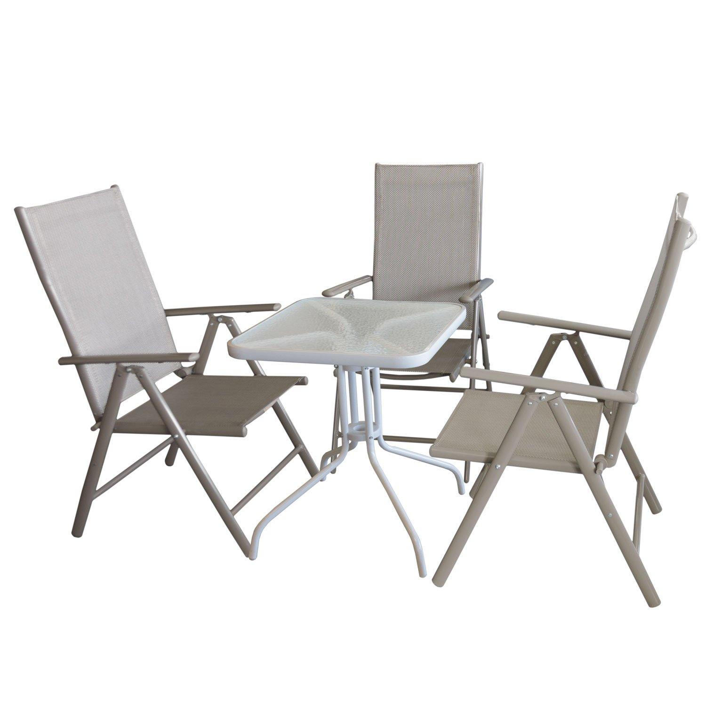 4tlg. Bistromöbel-Set Bistrotisch, Glastisch, Metall, 60x60cm, Weiß + 3x Aluminium Hochlehner mit Textilenbespannung Lehne in 7 Positionen verstellbar Sitzgruppe Sitzgarnitur