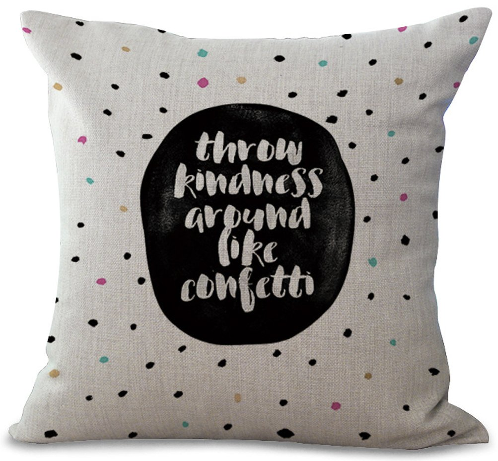 Eazyhurry English Phrase Black Dot Print Cotton Linen Square White Pillow with Invisible Zipper Decorative Cushion Throw Home Decor for Bench/Couch/Sofa 18