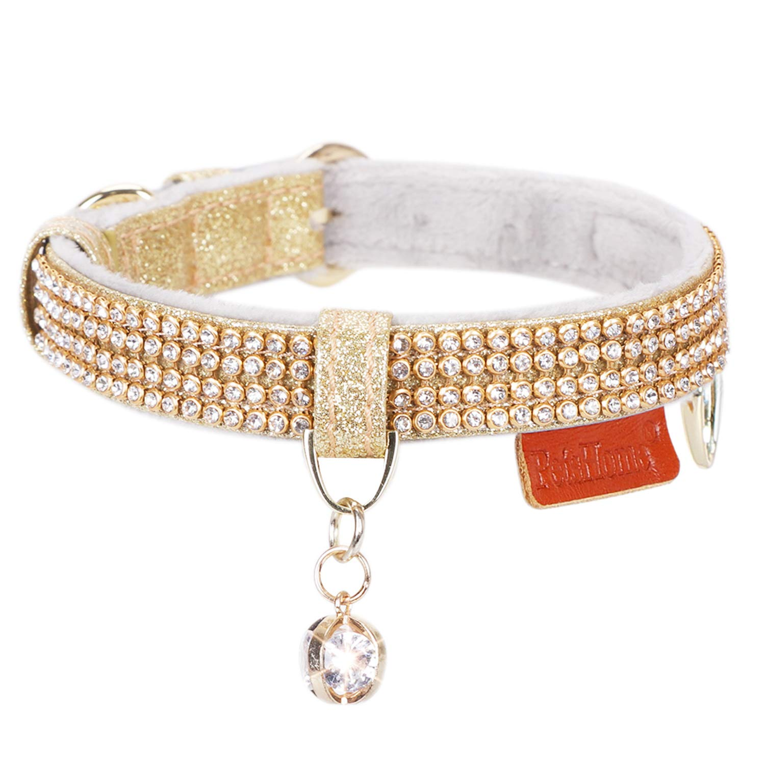 PetsHome Cat Collar, Dog Collar, [Bling Rhinestones] Premium PU Leather with Pendant Adjustable Collars for Small Dog and Cat Small Gold by PetsHome