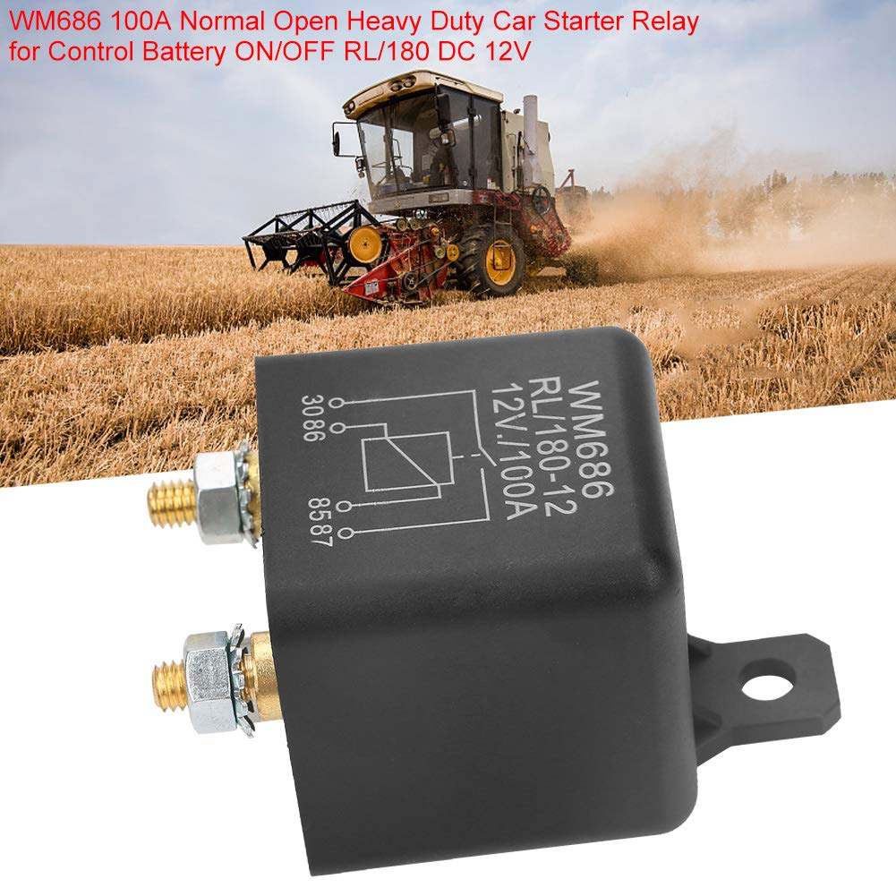 Akozon Relay WM686 100A Normal Open Heavy Duty Car Starter Relay for Control Battery ON//Off RL//180 DC 12V