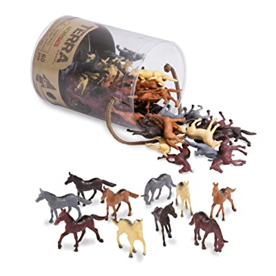 "Terra by Battat – Horses – Assorted Miniature Horse Toys & Cake Toppers For Kids 3+ (60 Pc), AN6038Z, 2"", Multi: Toys & Games"