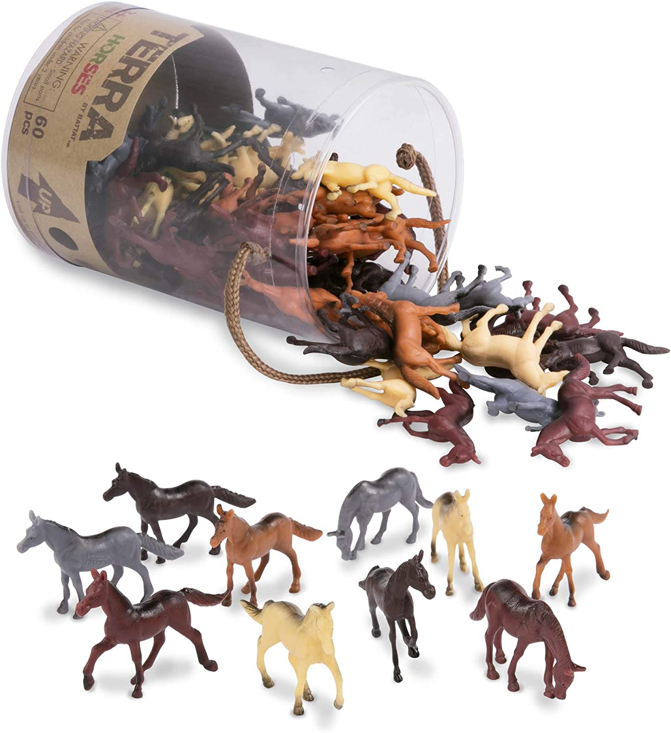 "Terra by Battat – Horses – Assorted Miniature Horse Toys & Cake Toppers For Kids 3+ (60 Pc), AN6038Z, 2"", Multi"