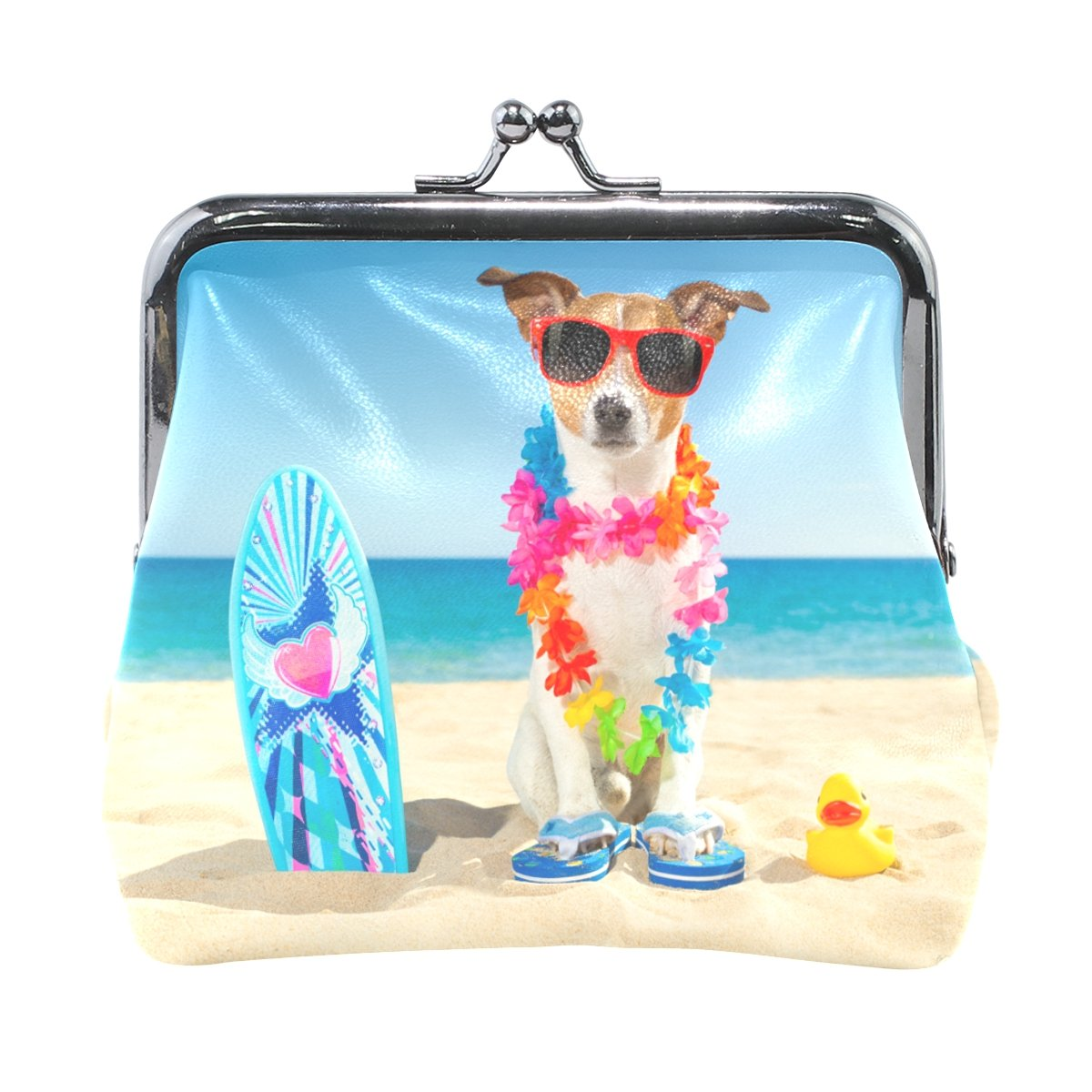 Ethel Ernest Dog At The Beach With Surfboard Wearing Sunglass Coin Wallets Mini Purse for Womens Girls