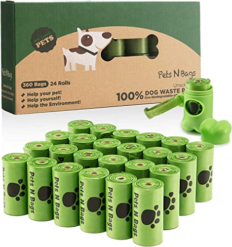 Pets-N-Bags-Dog-Poop-Bags,-Dog-Waste-Bags,-Biodegradable-Unscented-Refill-Rolls,-Includes-Dispenser