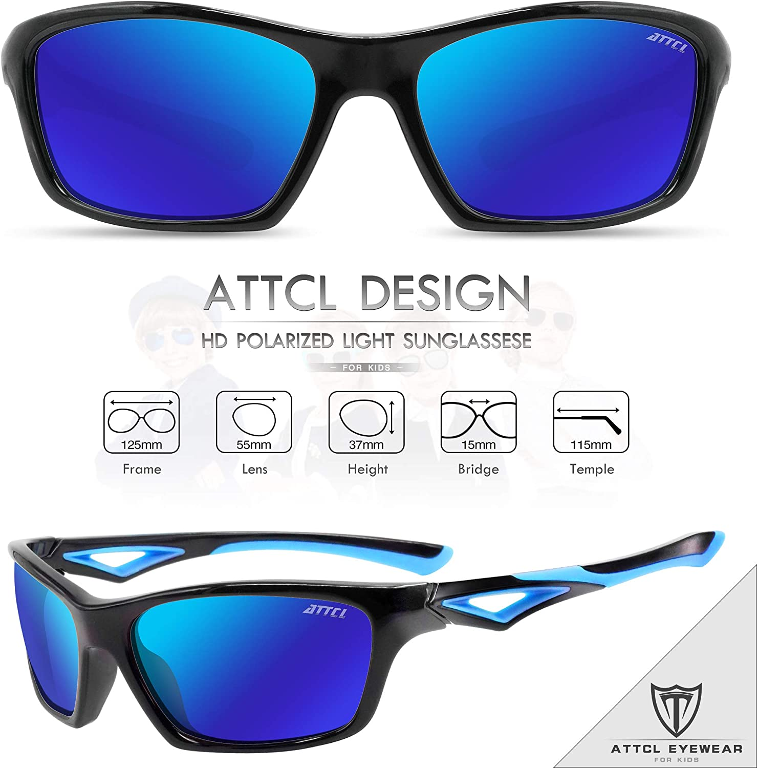 ATTCL TR90 Unbreakable Polarized Sport Kids Sunglasses For Boys Girls Age 3-10 Child