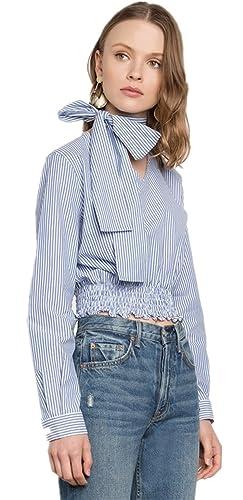 Cuello Detalle de Gargantilla Adornos en el Cuello Manga Larga con Rayas Corta Corto Crop Blusón Blusa Camisero Camiseta Camisa Top Azul