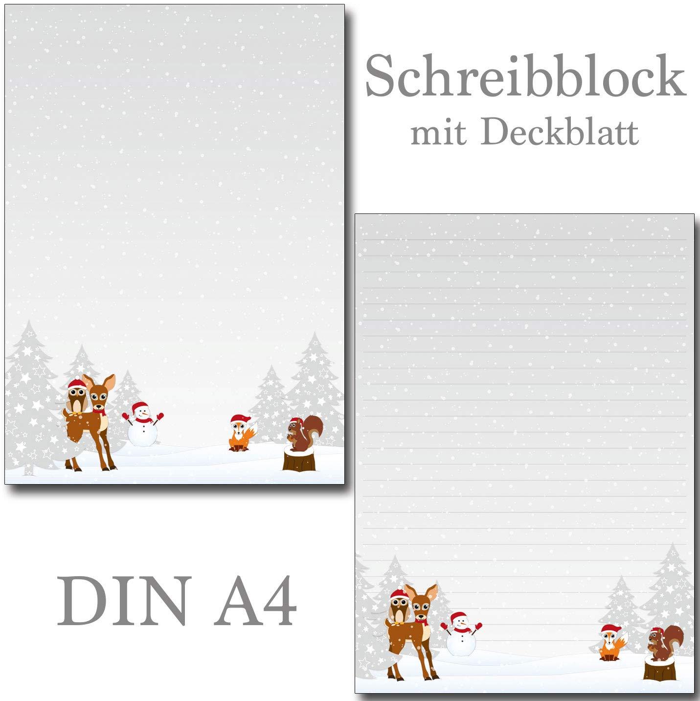 1 Schreibblock Waldtiere Winter 25 Blatt Format DIN A4 mit Deckblatt 7490-1 Konzept-G