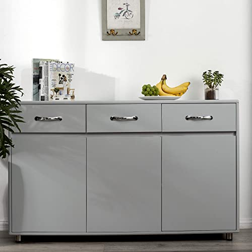 Modern Storage Cabinet Sideboard with Three Doors and Three Drawers, Neutral Grey