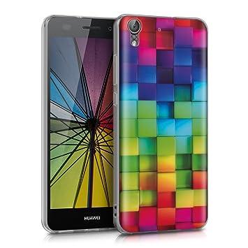 kwmobile Funda para Huawei Y6 II - Carcasa de [TPU] para móvil y diseño de Cubos de Colores Verde/Azul