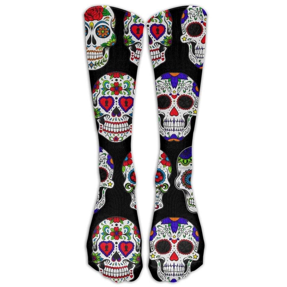 Men Day Of The Dead Sugar Skull Flower Art High Socks Shoe Size 6-10 I Like Exercise