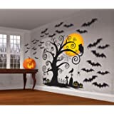 "Amscan Family Friendly Halloween Trick Or Treat Mega Value Party Scene Setters Wall Decorating Kit (32 Piece), 65"" X 32 1/2"", Black"