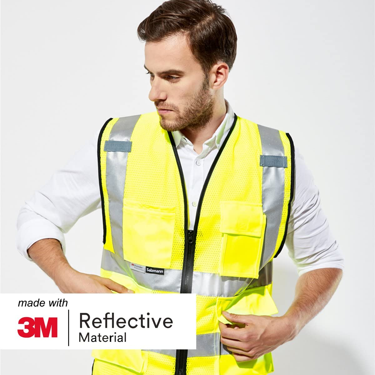 Salzmann 3M High Visibility Multi Pocket Vest made with 3M Reflective Tape Highly Breathable Mesh Vest